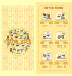 Coffee menu card set of cute various coffee icon vector