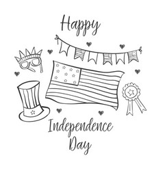 Collection style greeting card indpendence day vector