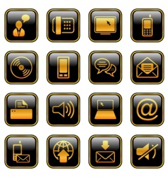 Communication icon set golden series vector