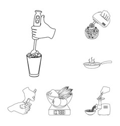 cooking food outline icons in set collection for vector image