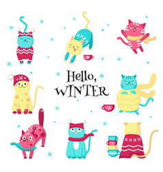 Cute funny winter cats isolated vector