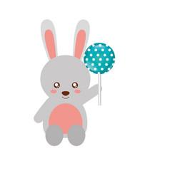 cute rabbit cartoon with lollipop vector image