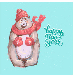 cute winter bear cub with red scarf on a snowy vector image