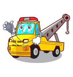 doctor cartoon tow truck isolated on rope vector image