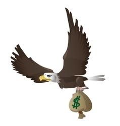 Eagle flies and carries bag with dollars vector