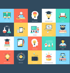 Education flat icons pack vector
