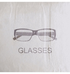 Engraving glasses on the old wrinkled paper vector