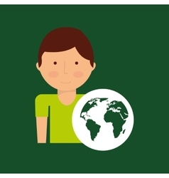 Environment icon boy with green globe vector