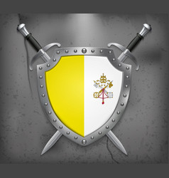 flag of vatican city the shield with national vector image