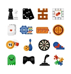 Gambling casino games flat icons set vector