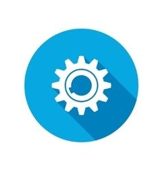 Gear icon Cogwheel symbol Round circle flat icon vector