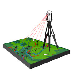 Geodetic survey on the ground vector