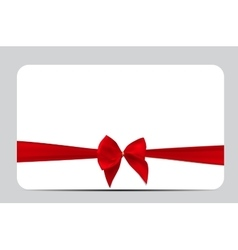 Gift Card Template with Red Silk Ribbon and Bow vector image