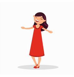 girl in a red dress is laughing cartoon character vector image