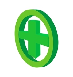 green cross in circle icon cartoon style vector image