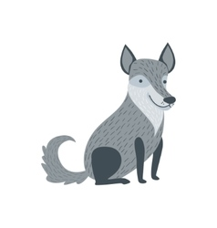 Grey Wolf Sitting Like A Dog Smiling vector