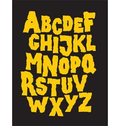 Hand drawn stone grunge font alphabet vector