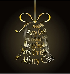 Hanging christmas bell made of Merry christmas vector image