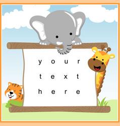 happy animals cartoon with board template vector image