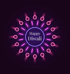happy diwali banner in bright neon style vector image