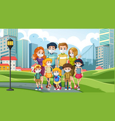 Happy family at park vector