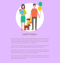 happy family poster cartoon characters text vector image