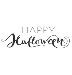 happy halloween hand writing ornate text greeting vector image