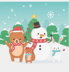 happy merry christmas card with bear teddy vector image
