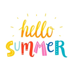 Hello summer colorful writing vector