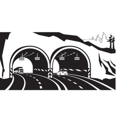 highway tunnel in the mountains vector image