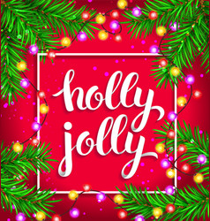 Holly jolly bright composition with glowing vector