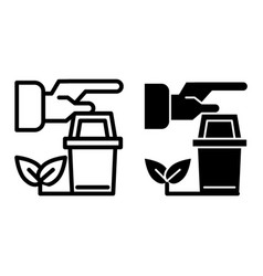 Human hands and pot with sprout line and glyph vector