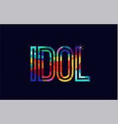 Idol word typography design in rainbow colors logo vector