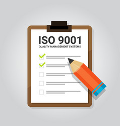 Iso 9001 quality management systems certification vector