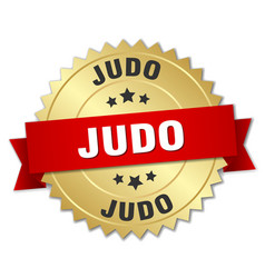 judo round isolated gold badge vector image
