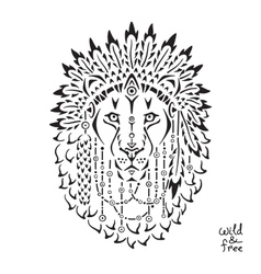 Lion in war bonnet animal native vector image