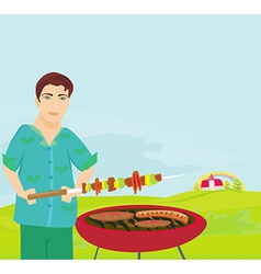man cooking on his barbecue in the park vector image