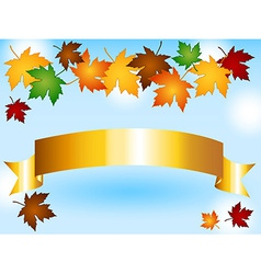 Maple leaves border with gold ribbon and sky vector image