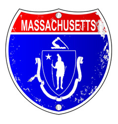 Massachusetts flag icons as interstate sign vector