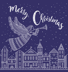 Merry christmas angel with horn flying above vector
