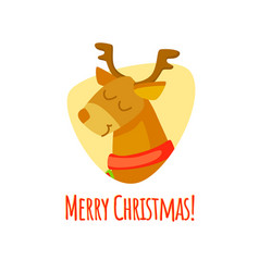 merry christmas christmas with deer vector image