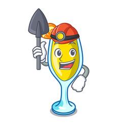 Miner mimosa mascot cartoon style vector