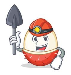 Miner rambutan mascot cartoon style vector