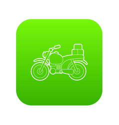 Motorcycle with boxes icon green vector