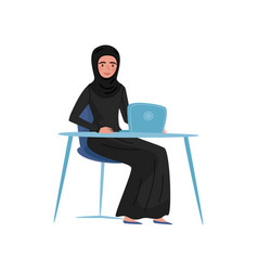 muslim businesswoman sitting at table with laptop vector image