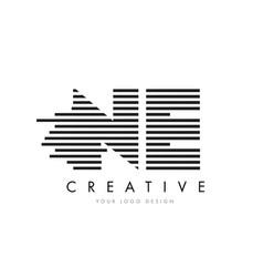 Ne n e zebra letter logo design with black and vector