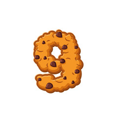 Number 9 cookies font oatmeal biscuit alphabet vector