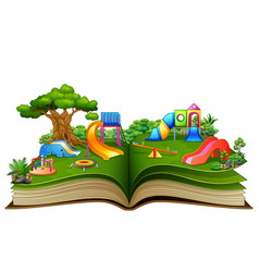 Open book with playground on a white background vector