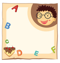 paper template with boy and alphabets vector image