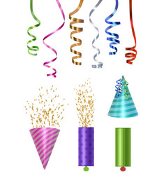 party elements colored caps party poppers glossy vector image